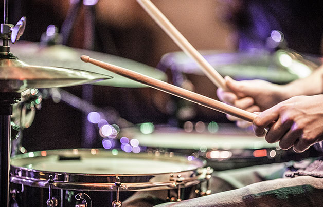 A drummer during a live performance