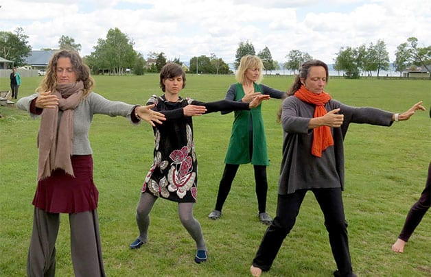 A group practicing qigong